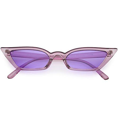 sunglassLA - 90s Small Vintage Cat Eye Sunglasses for Women with Translucent Thin Rectangle Frames (Purple/Purple) from sunglassLA