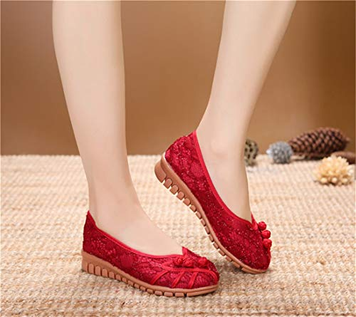 Embroidered Tendon Embroidered Slope Small net Breathable Gules Shoes Cloth Shoes Shoes Bottom Espadrilles Beef Ballet Women's Flats and Cloth Wild qxnvE8W8T