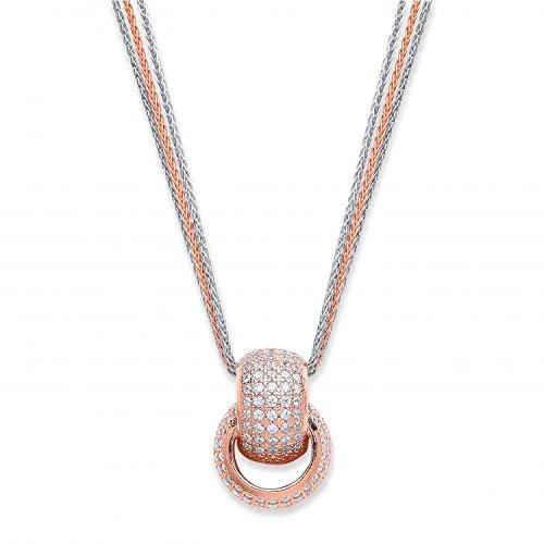 Argent sterling et rose avec revêtement entrelacés CZ Cercles Collier 15,5G