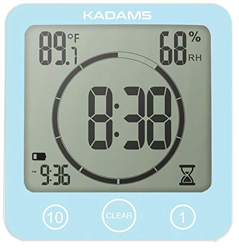 KADAMS Digital Bathroom Shower Kitchen Wall Clock Timer with Alarm, Waterproof for Water Spray, Touch Screen Timer, Temperature Humidity Display with Suction Cup Hanging Hole - Blue