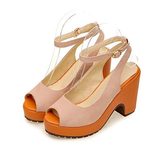 VogueZone009 Womens Open Peep Toe High Heel Platform PU Solid Sandals, Pink, 4.5 UK