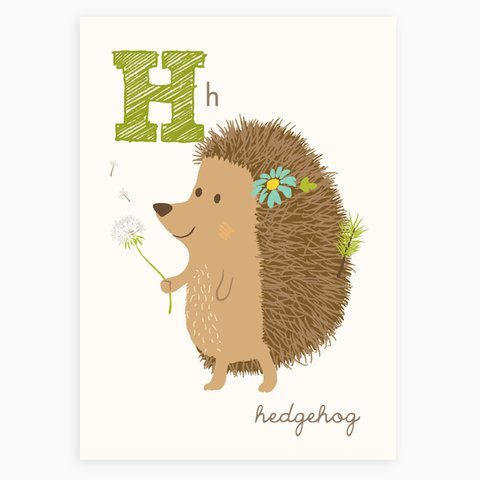 Sea Urchin Studio ABC Wall Art for Kids, H/Hedgehog - Hedgehog Print