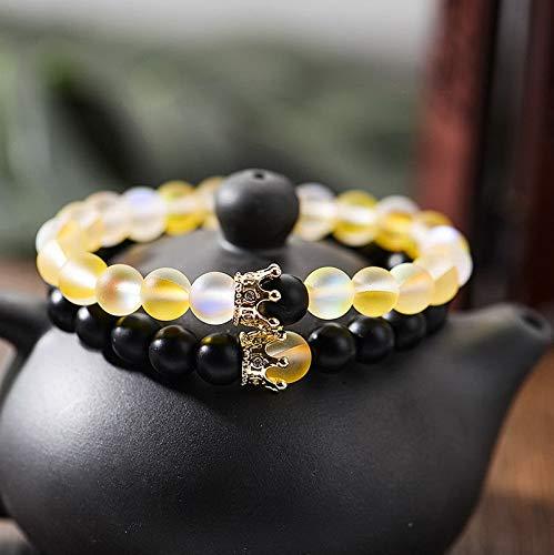 Mikash 2Pcs Couples Distance Bracelets Moonstone Bead 8MM Natural Stone Crown Bracelets | Model BRCLT - 7677 |
