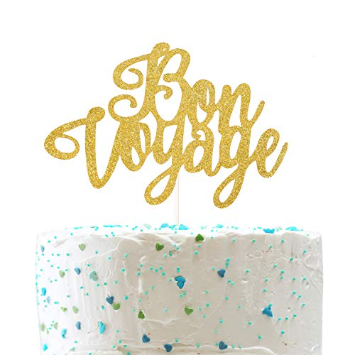 Bon Voyage Cake Topper for Farewell Party Going Away Happy Retirement Party Decorations (Double Sided Gold Glitter) ()