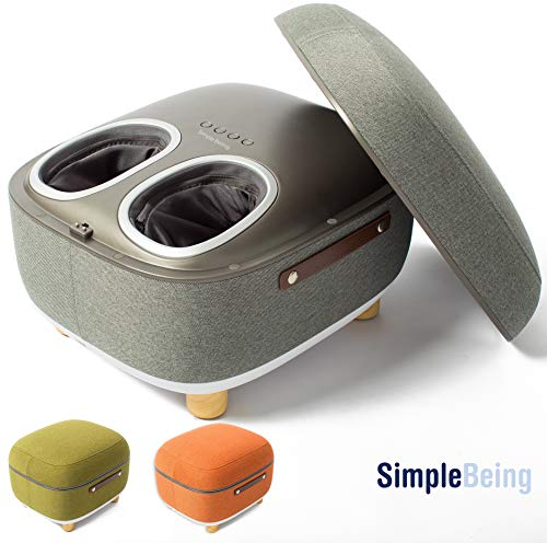 Simple Being Foot Massager Electric Ottoman Storage Removable Heating Lid, Shiatsu Therapy with Heat, Air Pressure, Vibration, Fits feet up to Men Size 14 Grey