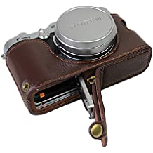 Bottom Opening Version Protective Real Leather Half Camera Case Bag for Fuji Fujifilm x100f with Hand Strap Dark Brown