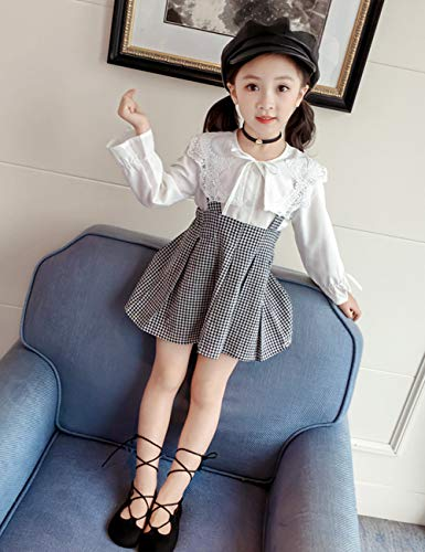 f852ec3a7 Toddler Kid Girl Outfit Long Sleeve Lotus Leaf Lace T-Shirt + Plaid Strap  Dress