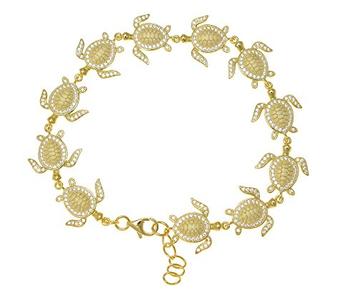 925 sterling silver yellow gold plated solid Hawaiian sea turtle link bracelet cz 7.5'' by Arthur's Jewelry