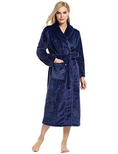Ekouaer Robes Unisex Kimono Bathrobe Super Plush Microfiber Fleece Loungewear S-XL (X-Large, Navy Blue)