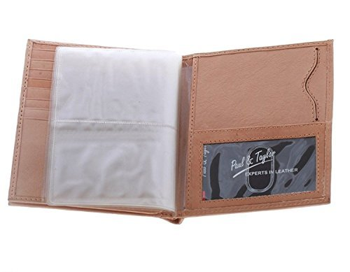 (Paul & Taylor Tan Leather Hipster Center Flap Bifold Wallet)