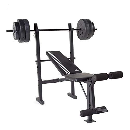 adidas Essential Combo Training Bench with Weight Set, 100 lb