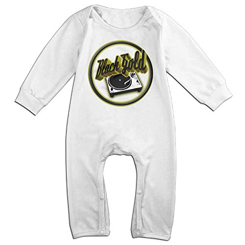 VanillaBubble BLACK GOLD LOGO For 6-24 Months Baby Cute Long Sleeved Tee White Size 18 (Hot Widow Boots)