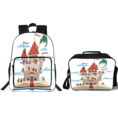 "19"" School Backpack & Lunch Bag Bundle,Kids,Fairy Tale Story Book Castle King Queen Princess Dragon Witch Knight Wizard Vikings Theme Print,for Boys Girls"