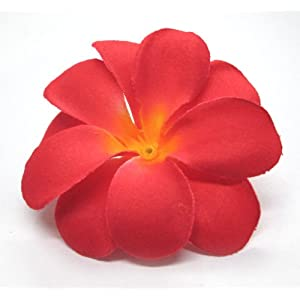 "(100) Red Hawaiian Plumeria Frangipani Silk Flower Heads - 3"" - Artificial Flowers Head Fabric Floral Supplies Wholesale Lot for Wedding Flowers Accessories Make Bridal Hair Clips Headbands Dress 8"