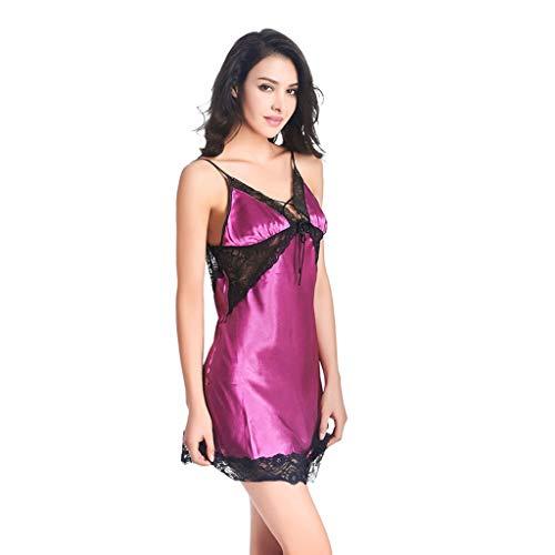 (New Sleepwear Women Sexy Summer Silk Pajamas Dress Sleepwear Night Dresses lace top V Collar Pajamas for Women Peach red)
