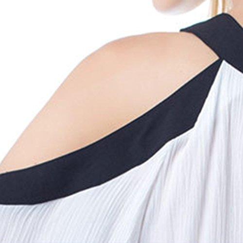 NiSeng Donna Casual Tinta Unita Chiffon Off Shoulder Collo Rotondo Manica Lunga T Shirt Senza Spalline Magliette Camicette Bianco XL