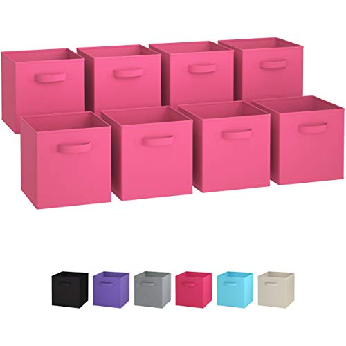 Royexe Set of 8 Foldable Fabric Storage Cube Bins | Collapsible Cloth Organizer Baskets Containers | Folding Nursery Closet Drawer | Features Dual Handles | More Beautiful Colors Available (Pink) (Storage Bins Folding Set)