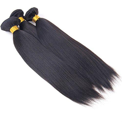 "Queenie 10"" #1B 1 Bundle Yaki Straight Virgin Peruvian Hair Extension Soft Last Longer"