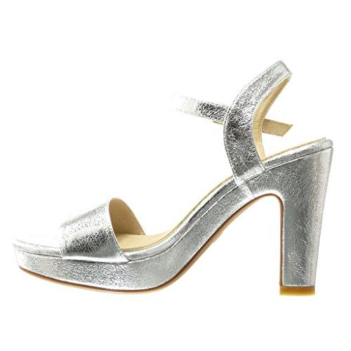 Angkorly - damen Schuhe Sandalen Pumpe - Plateauschuhe - Sexy - String Tanga - Schleife Blockabsatz high heel 11 CM - Silber