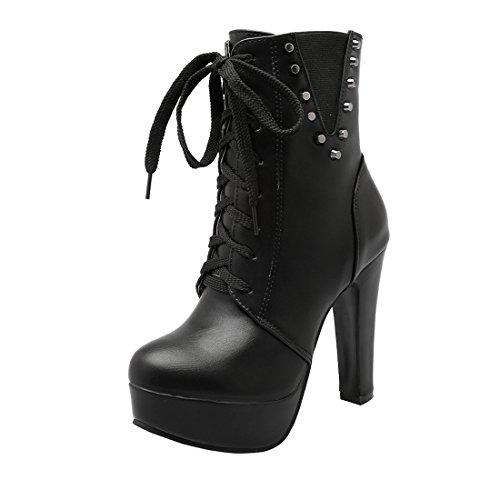 YE Damen Blockabsatz Ankle Boots Plateau High Heels Stiefeletten mit Schnürung und Reißverschluss Nieten Retro Schuhe Schwarz