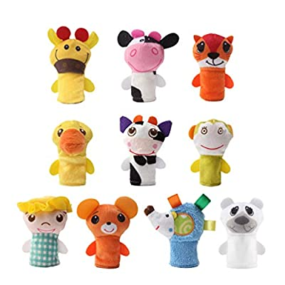TOYANDONA 10pcs Soft Plush Animal Finger Puppets Set Baby Story Time Educational Toy for Children(No Card): Toys & Games