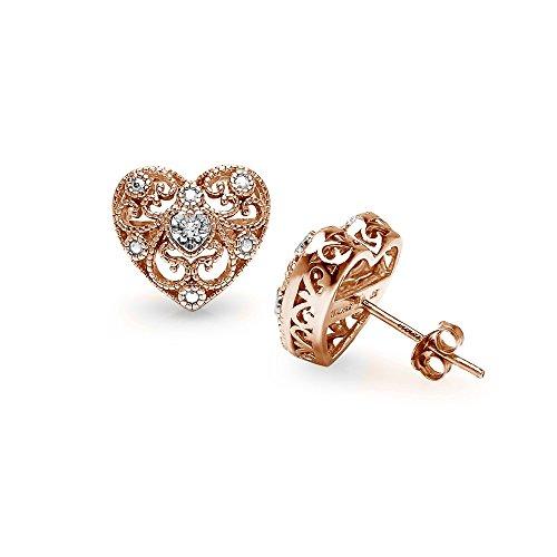 Diamond Filigree Earrings - Rose Gold Flashed Sterling Silver Heart Filigree Diamond Accent Stud Earrings, IJ-I3