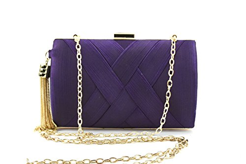 Bags for Evening Weaving Purple Wedding Women's with Handbag Clutch Party Purse Bridal Ruiatoo Tassel zwqfxS4A