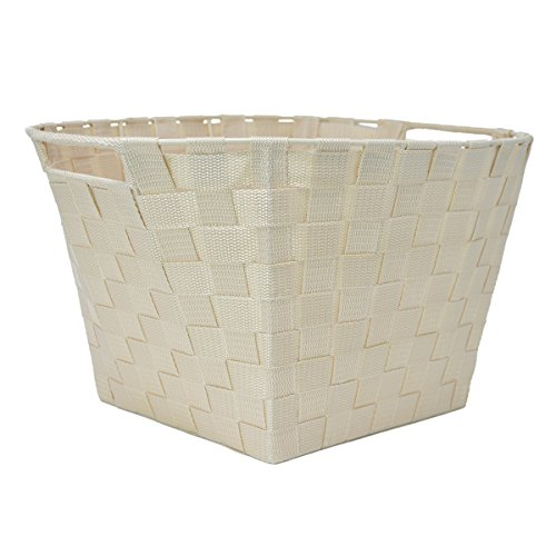 Oval Woven Strap Basket for Storage - Fabric Strap Shelf Bin for Closets, Bedroom, Playroom (Oval 17 x 13 x 9, Beige)