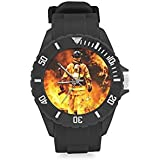 Fire Rescue,Cool Firefighter Kids' Round Rubber Sport Watch Christmas Day Gift