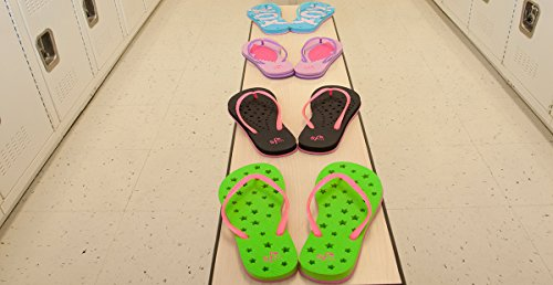 Showaflops Mädchen antimikrobielle Dusche & Wasser Sandalen für Pool, Strand, Camp und Gym - Happy Days Collection Gelbes Smiley-Gesicht