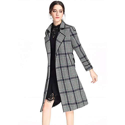 De Parka Cinturón Cuello Winter Largo Con Hgdr Gabardina Grey La En Cachemir Las Lana Viga Chaqueta Warm Escocesa Señora Mujeres Outwear 5pHfqP