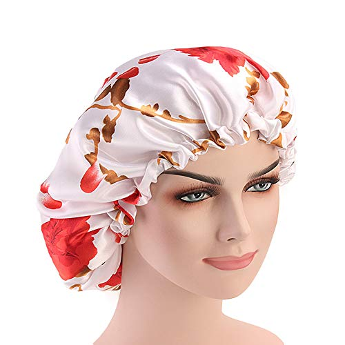 (DuoZan Extra Large Double Layered Satin Sleep Bonnet Cap Adjustable Elastic Reversible Turban Thicker Lined Hat Multi Color (White))
