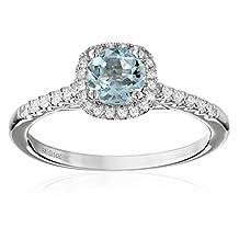 14k White Gold Aquamarine and Diamond (0.20 cttw, H-I Color, I2-I3 Clarity) Cushion Halo Engagement Ring, Size 7