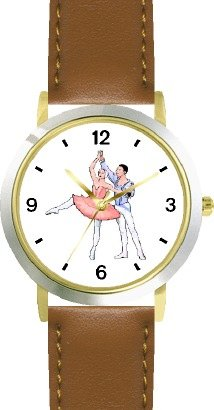 Ballerina and Ballet Dancer Couple No.3 - WATCHBUDDY DELUXE TWO-TONE THEME WATCH - Arabic Numbers - Brown Leather Strap-Size-Large ( Men's Size or Jumbo Women's Size ) by WatchBuddy