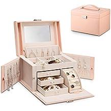 Vlando Jewelry Box, Faux Leather Medium Jewelry Organizer, Vintage Gift for Women -Pink-Cross Pattern (Renewed)