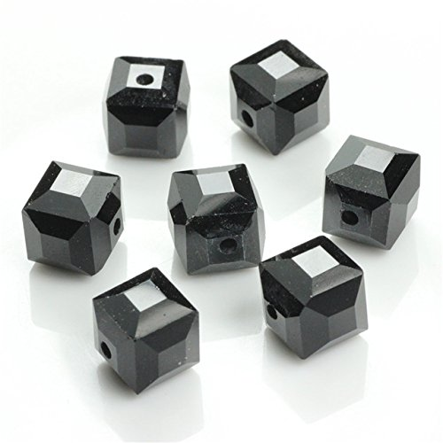 Black Crystal Square Beads DIY Crafts Material 10MM Chinese Lampwork Glass Loose Cube Plating Beading for Jewelry Making Supplies