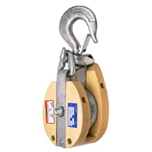 CAMPBELL 7265486 4-Inch Single Wood Drop Link Snatch Block with Stiff Swivel V Latch Hook, 750-Pound Load Capacity, 2-Inch Sheave