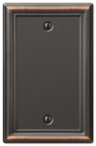 Amerelle Chelsea Single Blank Steel Wallplate in Aged Bronze