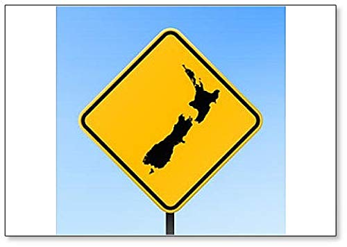 New Zealand Map on Road Sign Illustration Fridge Magnet (Outline Map Of Oceania Australia And New Zealand)