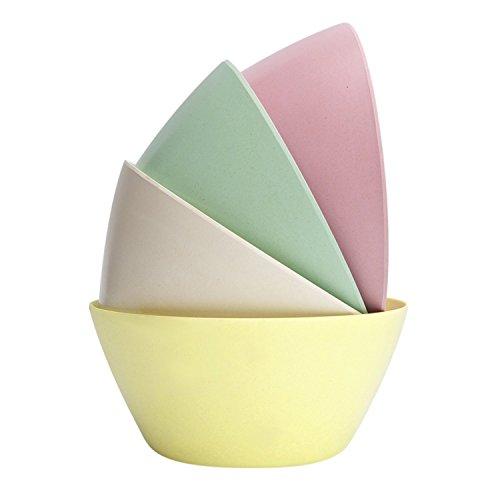 StorageWorks Bamboo Fiber Salad Bowls, Colorful Serving Dinner Bowl Set, Pink / Light Green / Creamy / Light Yellow, Medium, (Simply Bamboo Salad)