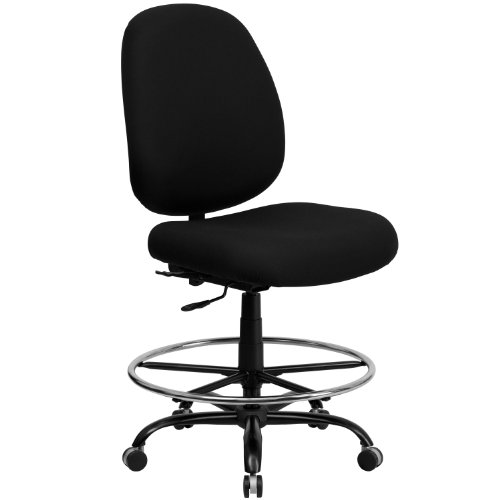 ERGONOMIC HOME Tough Enough Series Big & Tall 400 LB. Rated Black Fabric Drafting Chair with Adjustable Back ()