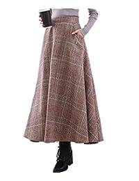 Femirah Women's High Waist Woolen A Line Skirt Long Maxi Winter Skirt