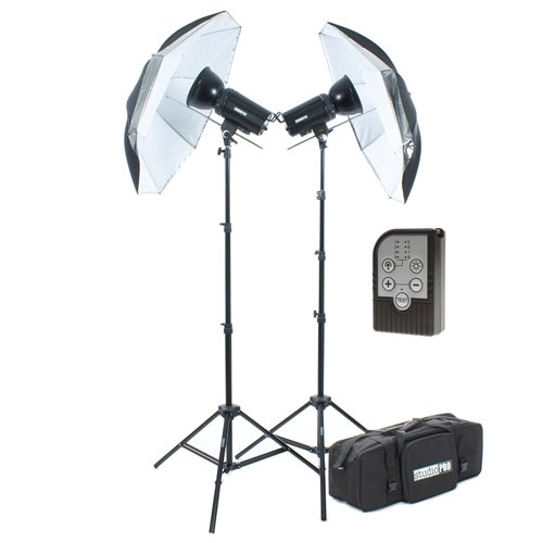 StudioPRO 1200W/s Professional Portrait Photography Lighting Kit - Two SDX-600 Monolight Strobe Flash Light Studio with Take Down 33'' Umbrella includes Carrying Case & Trigger by StudioPRO