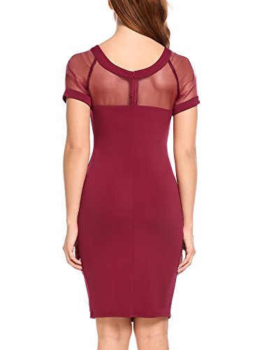 ACEVOG Party Red Hollow Women's Sexy Dress Bodycon Patchwork CwqzASC