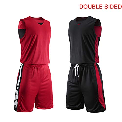 Basketball Jersey Double Sided Sports Shirt Uniform Set for Adults Elite Training Presentation Suit,Red,XXXL