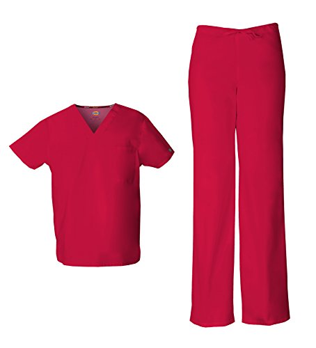 Dickies EDS Signature Unisex Scrubs Set (Top & Pant) (Large, Red) -