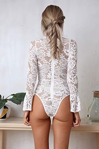 donna maniche a lunghe bianca Camicia con Tinta maniche unita lunghe a a V lunghe vintage da a scollo maniche wB6qF