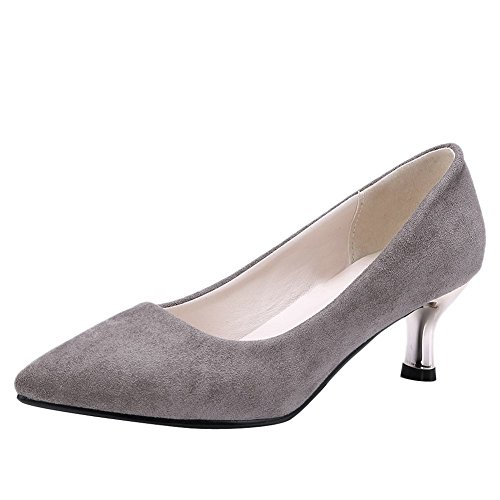Mee Shoes Damen High Heels Slip On Geschlossen Pumps Grau