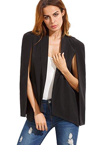 Solid Black Cape (Verdusa Women's Lapel Split Long Sleeve Blazer Solid Cape Jacket Coat Black M)