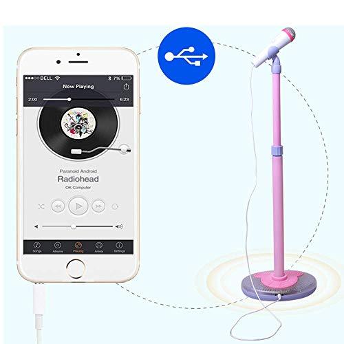 YuHuaFUShi Kids Karaoke Machine, Microphone with Adjustable Stand Singing Karaoke Machine for Toddler Girls (Blue) by YuHuaFUShi (Image #4)
